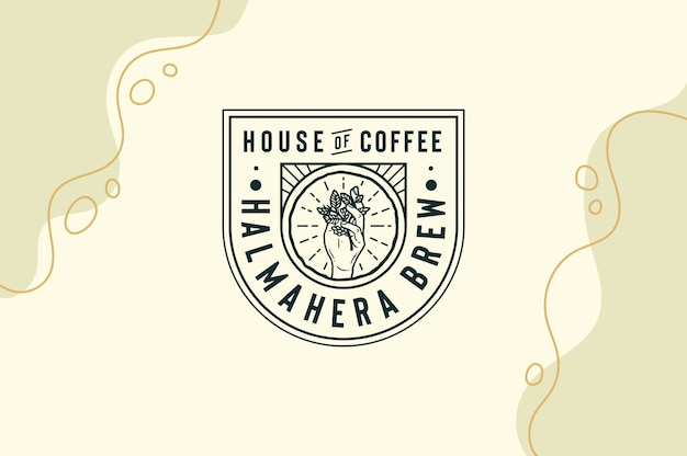 Halmahera brew house of coffee with coffee leaf in hand logo fully editable text, color and outline