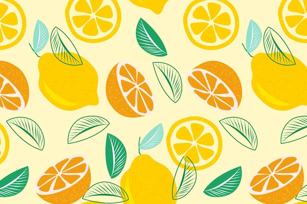 Halves of citrus fruit seamless pattern