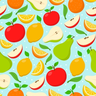 Halves of pears and citrus fruit seamless pattern