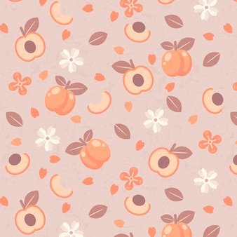 Halves of plum fruit and flowers pattern
