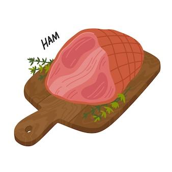 木製のまな板にハム肉のデリカテッセン