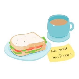 Ham sandwich and hot coffee