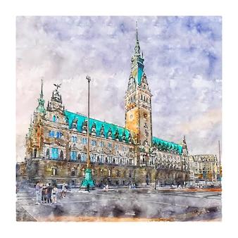 Гамбург германия акварельный эскиз рисованной иллюстрации