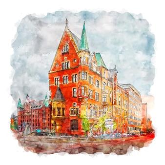 함부르크 독일 수채화 스케치 손으로 그린 그림