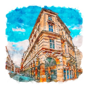 Hamburg germany watercolor sketch hand drawn illustration
