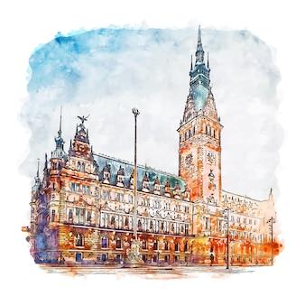 ハンブルクドイツ水彩スケッチ手描きイラスト