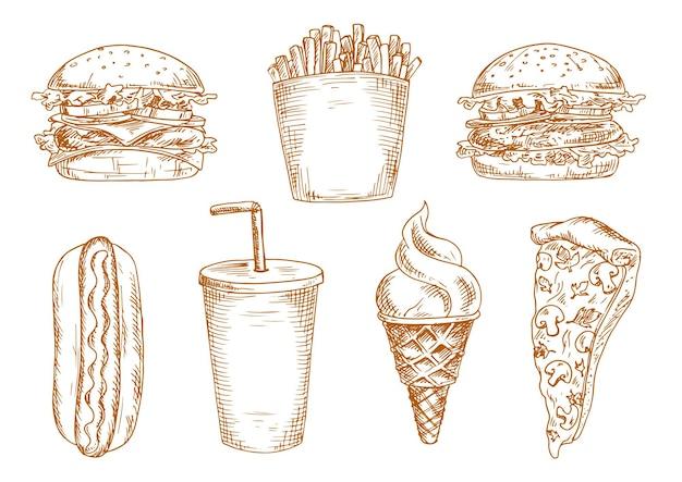 양상추와 야채가 들어간 햄버거와 치즈 버거, 달콤한 소다 컵, 구운 핫도그