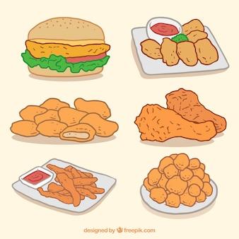 햄버거와 손으로 그린 프라이드 치킨