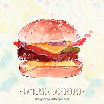 水彩スタイルのハンバーガーの背景