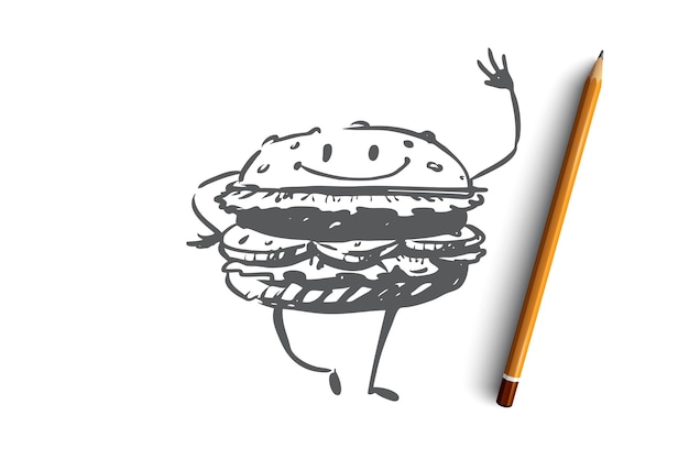 햄버거, 쇠고기, 식사, 패스트 푸드, 개념을 먹는다. 미소 개념 스케치와 함께 손으로 그려진 된 재미있는 햄버거. 삽화.