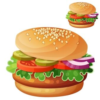 白で隔離ハンバーガー漫画ベクトルアイコン