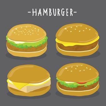 Hamburger characters. vector collection set