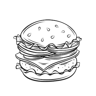 Hamburger or cheeseburger outline cartoon
