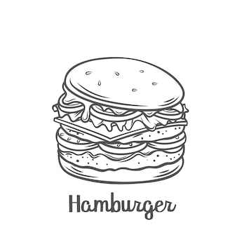 Hamburger or cheeseburger with american flag skewers outline   icon. drawn fast food takeaway meal for menu cafe design.