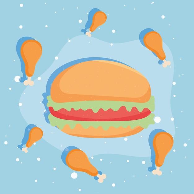 Hamburger and chicken
