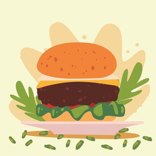 Hamburger in dish