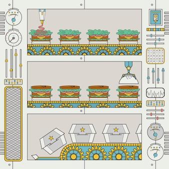 Фабрика гамбургеров с конвейером и захватом в стиле плоской линии