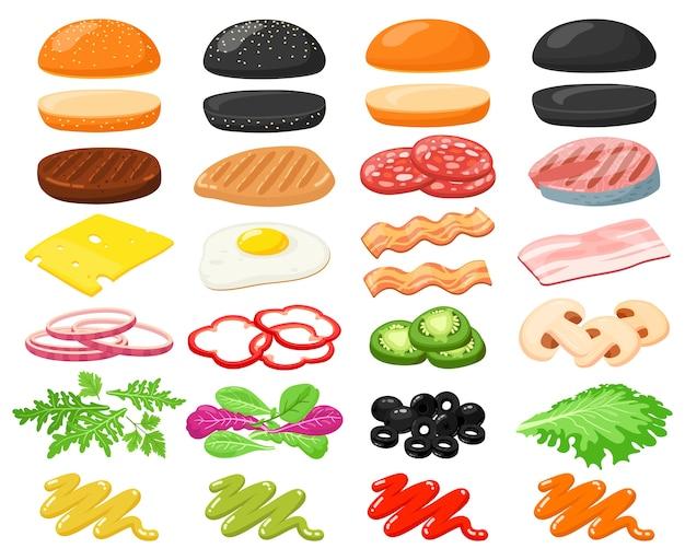 Иллюстрация конструктора быстрого питания гамбургер