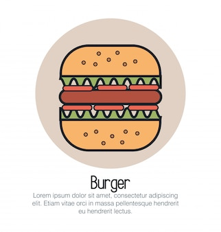 Hamburger fast food isolated icon