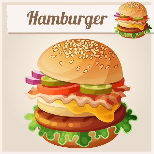 ハンバーガー食品ベクトルアイコン