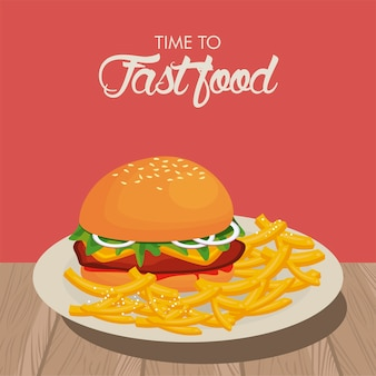 Hamburger and french fries in dish delicious fast food  illustration
