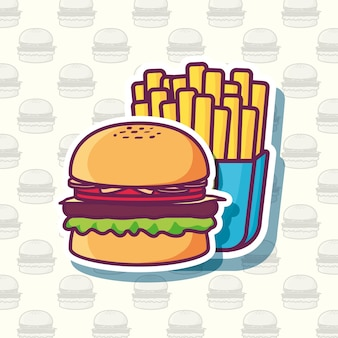 Hamburger and french fries icon over white background