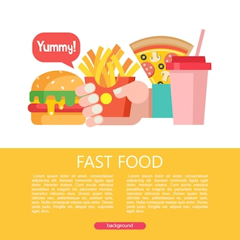 Hamburger, french fries, pizza and milkshake. fast food. delicious food. vector illustration in flat style. a set of popular fast food dishes. illustration with space for text.