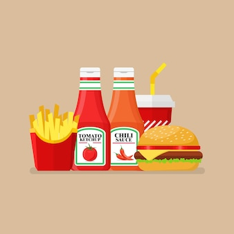 Hamburger french fries and soda with tomato and spicy sauce
