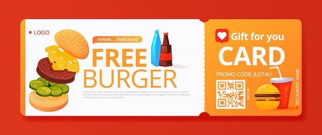 Hamburger gift voucher template