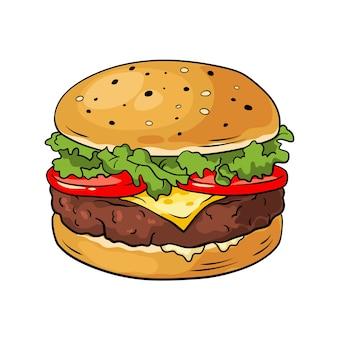 Гамбургер. рисованной иллюстрации