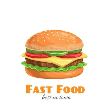 ハンバーガーアイコン。ファーストフードイラスト