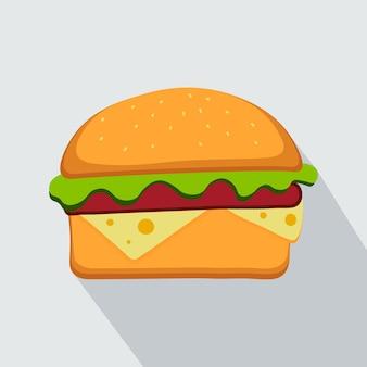 長い影のハンバーガーアイコンシンボル。ベクトルイラストeps10。