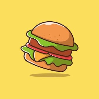 Hamburger illustration with outline