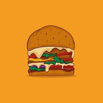 노란색에 고립 된 햄버거