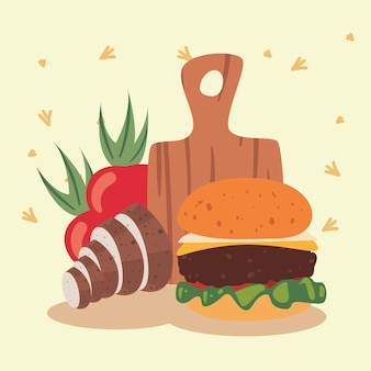 Hamburger and kitchen board