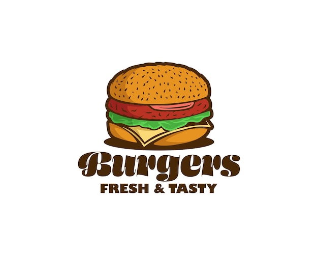 Логотипы гамбургеров. красочный логотип бургера для ресторана или кафе. шаблон дизайна логотипа