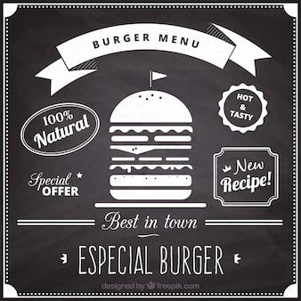 ハンバーガーメニュー黒板