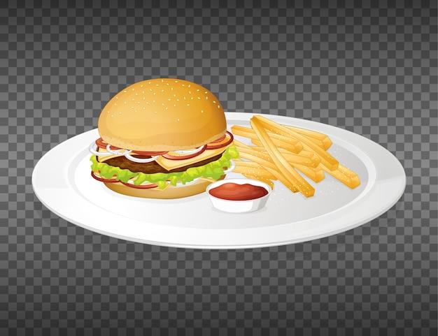 투명 접시에 햄버거