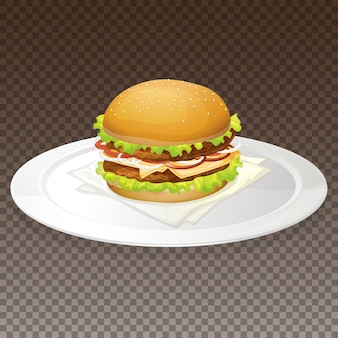 プレート上のハンバーガー