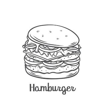 ハンバーガーまたはアメリカ国旗の串焼きのアウトラインアイコンが付いたチーズバーガー。メニューカフェのデザインのために描かれたファーストフードのテイクアウトの食事。