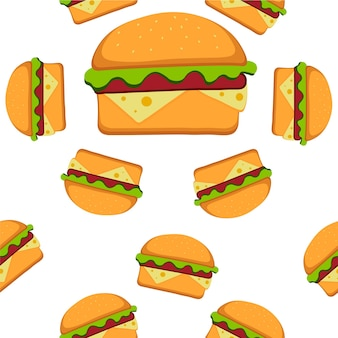 Hamburger pattern vector illustration in flat style. fast food seamless background. vector illustration eps 10 for your design.