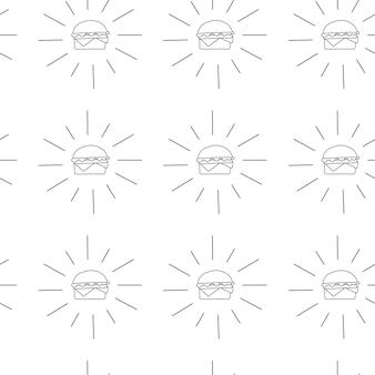 Hamburger pattern vector illustration in flat style. fast food seamless background.