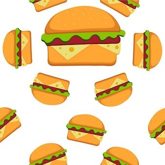Гамбургер шаблон векторные иллюстрации в плоский. бесшовный фон с фаст-фуд. векторная иллюстрация eps 10 для вашего дизайна.