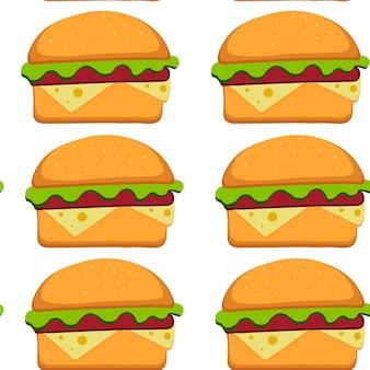 フラットスタイルのハンバーガーパターンベクトルイラスト。ファーストフードのシームレスな背景。あなたのデザインのためのベクトルイラストeps10。