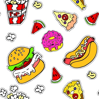 Hamburger and pizza slice, hot dog and pop corn. junk food and unhealthy eating, cut of watermelon. nutrition and dieting assortment, sweet glazed donut. seamless pattern, vector in flat style