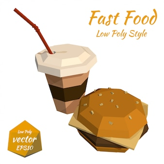 Hamburger and a plastic cup of coffee and a straw illustration