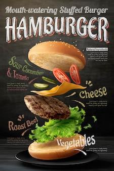 Hamburger poster design on blackboard background in 3d illustration