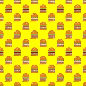 Hamburger seamless pattern on yellow background.fast food seamless vector pattern.