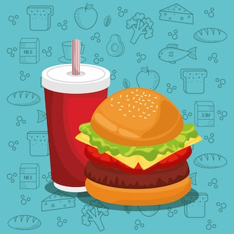 Hamburger and soda fast food