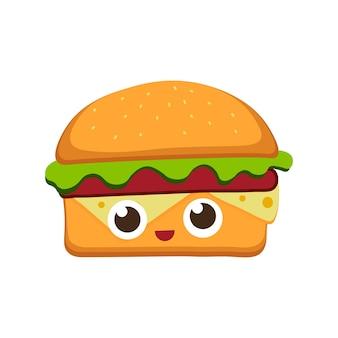 フラット漫画スタイルのハンバーガーベクトルイラストファーストフードの背景ハンバーガー楽しい顔